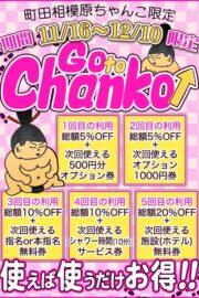 11/16~12/10有効 町田・相模原ちゃんこ限定!! GO to Chanko  最大20%OFF+施設(ホテル代)無料!